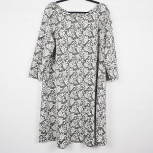 LOFT Plus 3/4 Sleeve Floral Dress Gray White 18